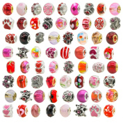 TOAOB Women's Red Theme Assorted Rhinestone Bead Glass Spacers For Snake Charm Pack of 10pcs