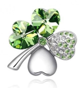 New Lucky 4 Leaf Clover Crystal Brooch Pin Green & Silver. Elements