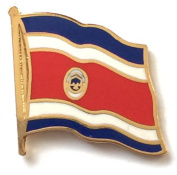 Costa Rica National Flag Gold Plated Courtesy Enamel Lapel Pin Badge