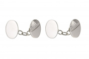 Sterling Silver Half Engraved Oval Chained Cufflinks