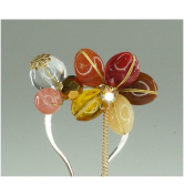 Flower Design Hairpin HandCrafts Made of Natural Stone - Hair Accessory Decoration