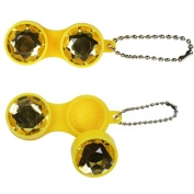 JAVOedge Keychain Style Gem Bejewelled Contact Lens Case, Yellow
