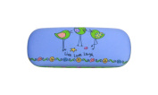 Cape Shore Pretty Little Birds Live Love Laugh Eye Glasses Case + Cloth, Blue