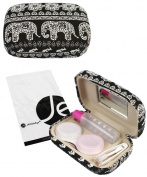 JAVOedge Black Elephant Print Contact Lens Carrying Case Travel Kit with Mirror, Tweezers, and Solution Bottle