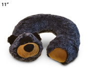 Super Soft Plush 28cm Neck Pillow Comfortable Travel Animal Headrest - Black Bear