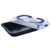 RENBERG BAKING - ROASTING PANS STAINLESS STEEL AND PLASTIC WITH LID 36X24.5X5.5 CM