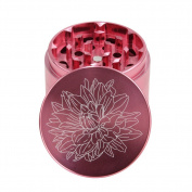 DCOU® New Design Premium Aluminium Grinder 5.6cm 4 Piece with Pollen Catcher with Laser Flower Pattern Pink