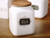 Creative Bake Stir It Up Stoneware Tea Canister With Acia Wood Lid