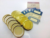 12 x Gold 63mm Standard Jam Jar Lids with 30 Co-ordinating blue and gold labels