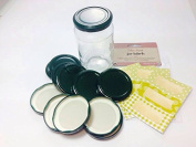 Pack of 12 (standard) 63mm Dark Green Jam Jar lids with 30 co-ordinated green and gold labels