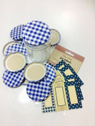 Pack of 12 (standard) 63mm Blue Gingham Jam Jar lids with 30 co-ordinated blue and gold labels
