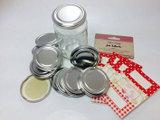 Pack of 12 Silver 63mm (standard) jam jar lids with 30 assorted red and white jar labels
