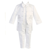 Angels Garment Baby Boys White 5 pcs Silver Embroidered Tuxedo 18-24M