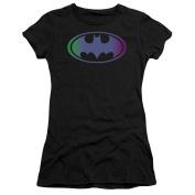 Trevco Batman-Gradient Bat Logo - Short Sleeve Junior Sheer Tee - Black, 2X