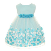 Kids Dream Baby Girls Aqua Taffeta Flowers Sleeveless Easter Dress 3M