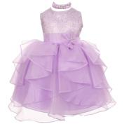 Baby Girls Lilac Organza Rhinestuds Bow Sash Flower Girl Dress 6M