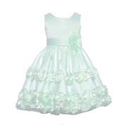 Bonnie Jean Baby Girls Mint Roses Embellishment Occasion Dress 24M