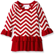 Bonnie Jean Baby Girls Red White Chevron Striped Peplum Christmas Dress 12M