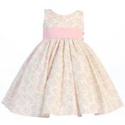 Baby Girls Pink Floral Print Poly Shantung Sash Easter Dress 3-6M