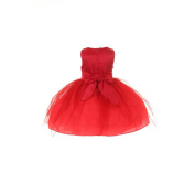 Baby Girls Red Sequins Bow Sash Tulle Special Occasion Dress 18M