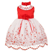 Baby Girls Red White Floral Jewelled Easter Flower Girl Bubble Dress 3M