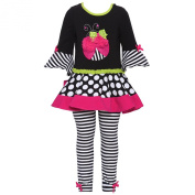 Rare Editions Baby Girls Black Dot Stripe Applique 2 Pc Legging Set 3M
