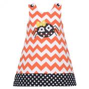 Baby Girls 24M Orange Chevron Black Dot Spider Halloween Jumper Dress