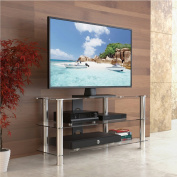 Fitueyes Classic Clear Tempered Glass Tv Stand Suit for up to 120cm LCD LED Oled Tvs Fts310501gt