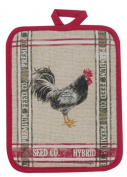Home to Roost Chicken Plaid Red Green Print Kitchen Pot Holder Cotton Kay Dee