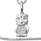 """Clever SCHMUCK-SET Silver Pendant """"with Many Small Cubic Zirconia . Owl"""" and Venezia Chain 45 cm, Both 925 Real Silver for Ladies"""
