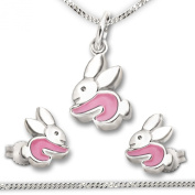 CLEVER Jewellery SET Silver Pendant Rabbit Stud Earrings pink Lacquer and Curb Chain 40 CM for Children Silver 925