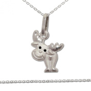 """CLEVER Jewellery SET Silver Pendant """"Moose Eyes Black Matte and Glossy with Anchor Necklace 925"""