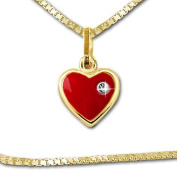 "Clever SCHMUCK-SET Trailer Goldener ""Small Heart Red 8 mm White Stone with A Small"" Venezia 333 Gilded with Real Gold 40 cm"