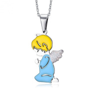 LAMUCH Jewellery Fashion Stainless Steel Cute Angel Pendant Necklace For Couples & BestFriends 2Colors Available