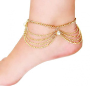 YipGrace Women's Multi Chain Anklet Foot Link Barefoot