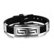 HuntGold Men's Jewellery Silicone Titanium Steel Wristband Clasp Cuff Bangle Bracelet Black