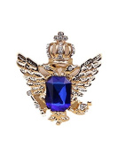 1pc Vintage Crown Eagle Pattern Collar Brooch Pin for Men Gold and Blue