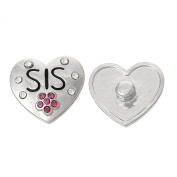 SEXY SPARKLES Women's Carved Heart With Flower Rhinestone Sis Chunk Snap Jewellery Button