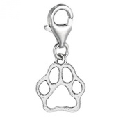 SEXY SPARKLES Women's Hollow Clip On Paw Charm Dangle Pendant For Jewellery W/ Lobster Clasp