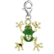 SEXY SPARKLES Women's Clip On Frog Charm Dangle Pendant For Jewellery With Lobster Clasp