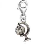 SEXY SPARKLES Women's Earth Globe Clip On Pendant For Charm Jewellery W/ Lobster Clasp