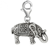 SEXY SPARKLES Women's Beautiful Elephant Clip On Charm Pendant For Jewellery W/ Lobster Clasp
