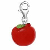 SEXY SPARKLES Women's Resin Red Apple Clip On Charm Pendant For Jewellery W/ Lobster Clasp