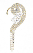 Classy Shell Inspired Pave Ear Cuff with Rhinestone Dangles in Gold-Tone