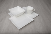 Fortessa Fortaluxe Vitrified China Tavola 16-Piece Place Setting, Service for 4