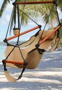 Hammock Hanging Chair Air Deluxe Sky Swing Outdoor Chair Solid Wood 110kg Tan