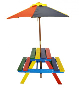 Junior Rainbow Picnic Table with umbrella for kids -- Product SKU
