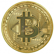 Rexul(TM) 1 x Gold Plated Bitcoin Coin Collectible BTC Coin Art Collection Gift Physical