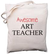 Awesome Art Teacher - Natural Cotton (Cream) Shoulder Bag - School Gift