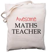 Awesome Maths Teacher - Natural Cotton (Cream) Shoulder Bag - School Gift